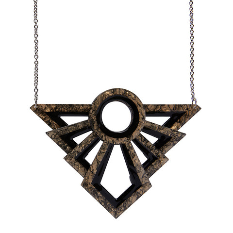 MODERNIST MOTIF NECKLACE (Erstwilder Art Deco Resin Necklace) - Glitterally.co.uk