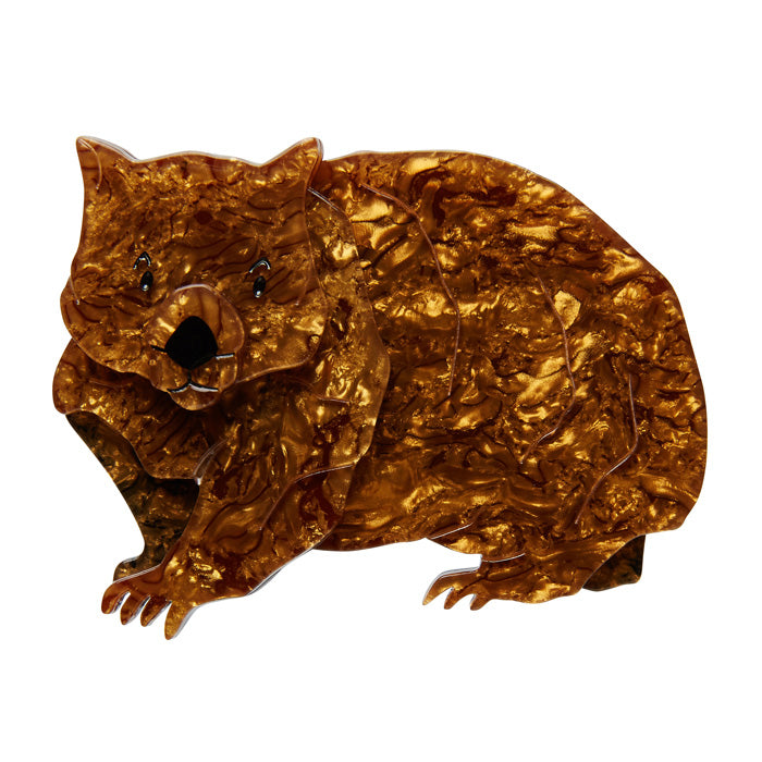 Pot-Belly Patrick Wombat Brooch (Erstwilder Resin Wombat Brooch) - Glitterally.co.uk