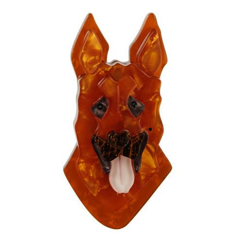 Abbey Alsatian Dog Brooch (Erstwilder Resin Brooch) - Glitterally.co.uk