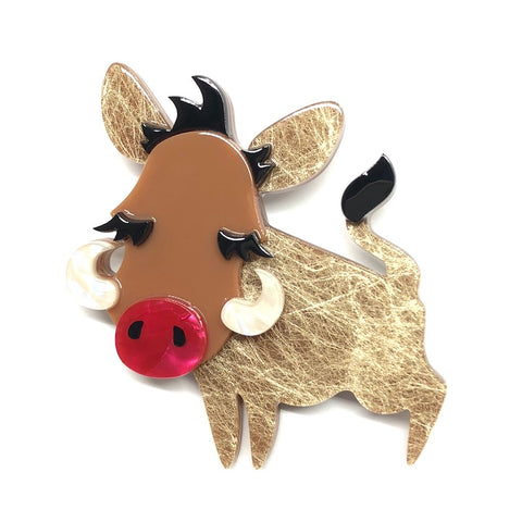 YOUNG WARTHOG BROOCH (Erstwilder Resin Brooch) - Glitterally.co.uk