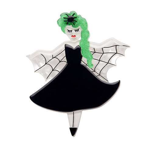 KISS OF THE SPIDER-WOMAN BROOCH (Erstwilder Halloween 2018 Brooch) - Glitterally.co.uk