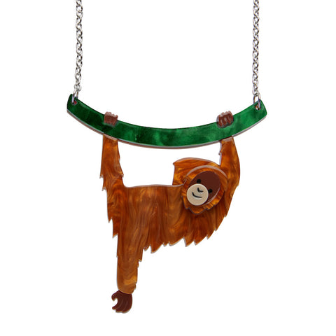 HOLD ON LOUIE ORANGUTAN NECKLACE (Erstwilder Orangutan Resin Necklace) - Glitterally.co.uk