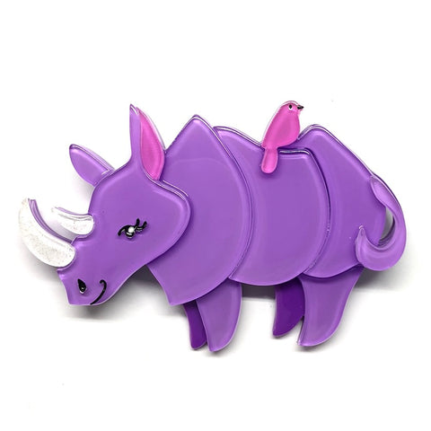 LIFE BY THE HORNS RHINO BROOCH (Erstwilder Resin Brooch) - Glitterally.co.uk