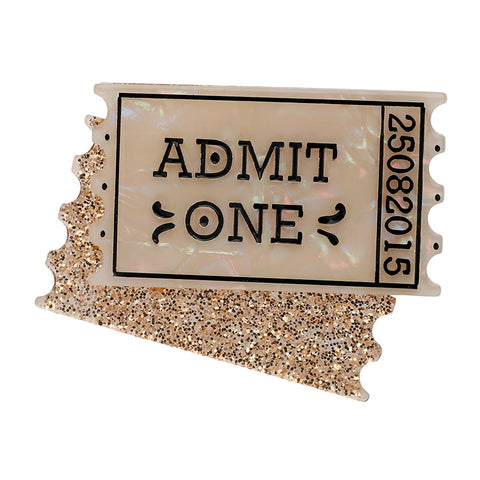 Admit One Ticket Brooch (Erstwilder Resin Cinema Ticket Brooch) - Glitterally.co.uk