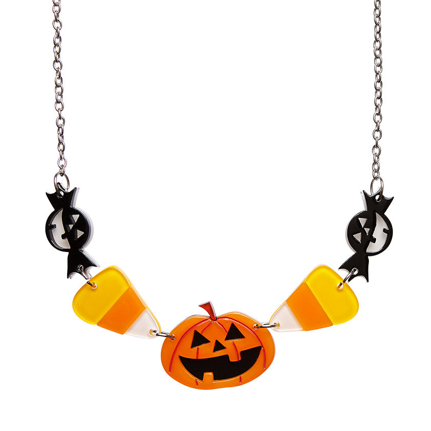 NO TRICKS HALLOWEEN NECKLACE (Erstwilder Halloween 2018 Necklace) - Glitterally.co.uk