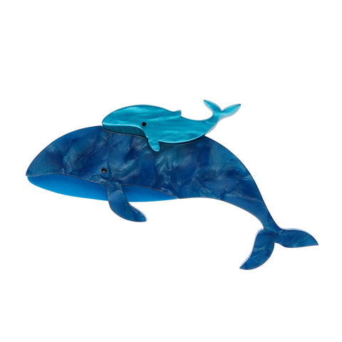BENEVOLENT BEHEMOTHS BLUE WHALE BROOCH (Erstwilder Blue Whales Resin Brooch) - Glitterally.co.uk