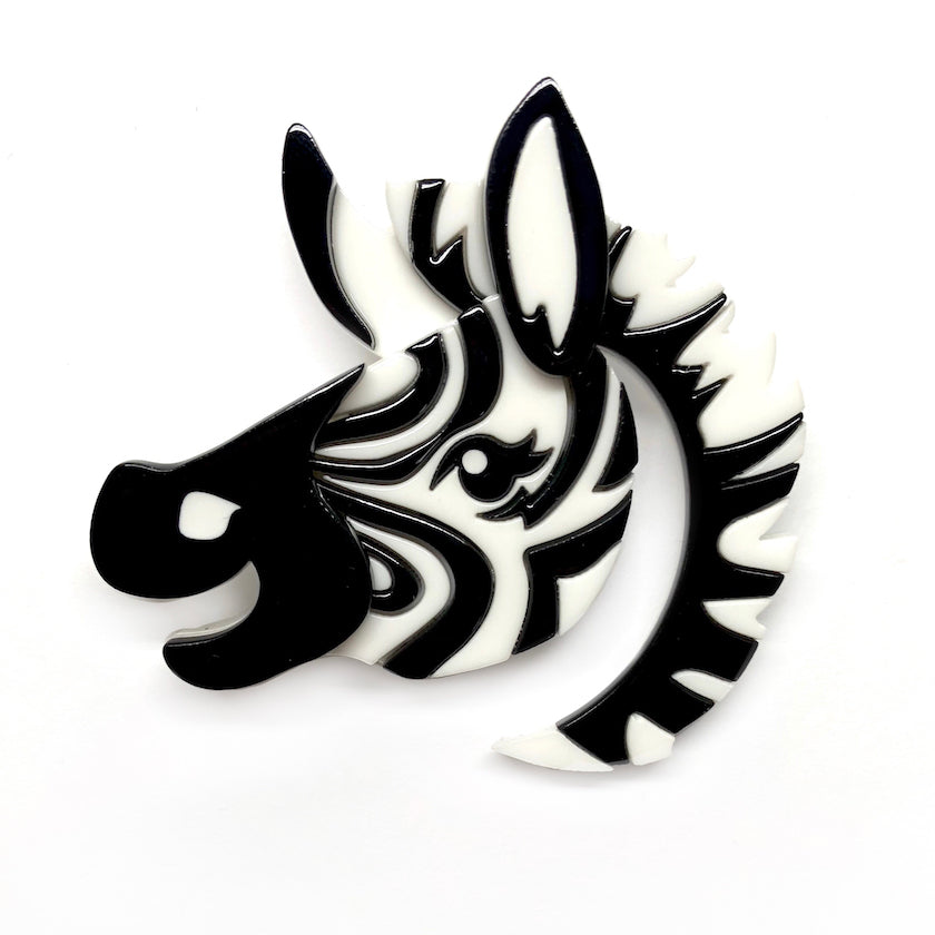 ZESTY ZEBRA BROOCH (Erstwilder Resin Brooch) - Glitterally.co.uk