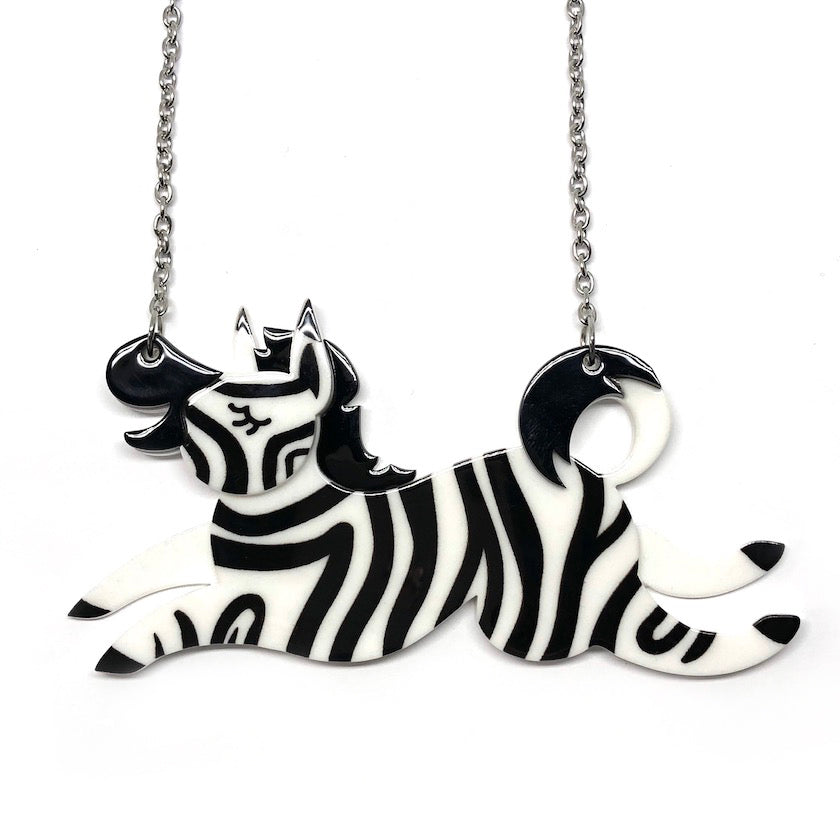 ZEBRA CROSSING NECKLACE (Erstwilder Resin Necklace) - Glitterally.co.uk