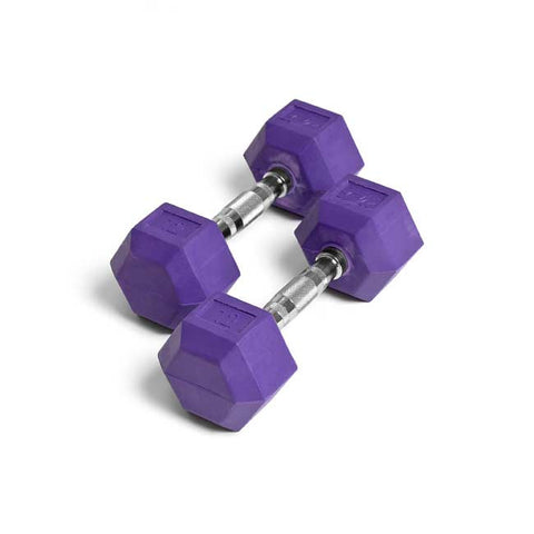 Element Fitness 12lbs Colored Rubber Hex Aerobic Dumbbells