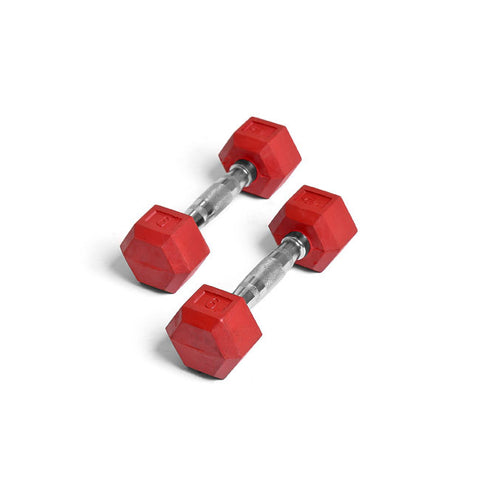 Element Fitness 6lbs Colored Rubber Hex Aerobic Dumbbells