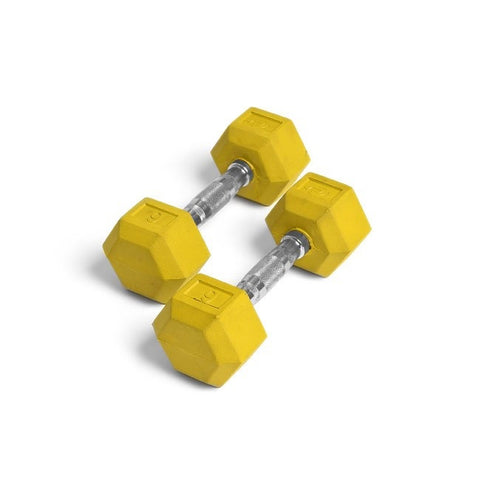 Element Fitness 9lbs Colored Rubber Hex Aerobic Dumbbells