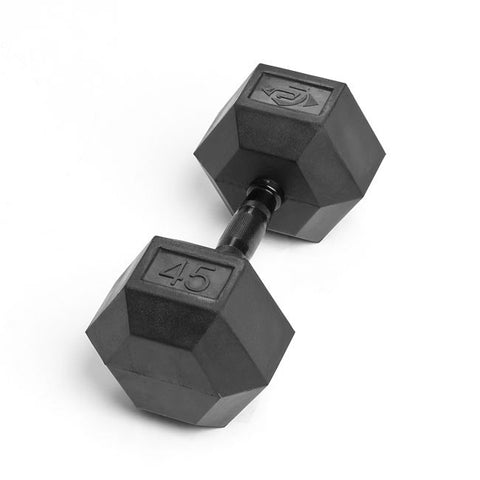 45lb Virgin Rubber Hex Dumbbell No Toxic Odor SDVR-45
