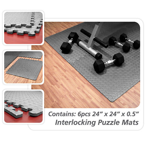 "Element Fitness 24"" x 24"" x 1/2"" - 6 pcs Floor Mats"