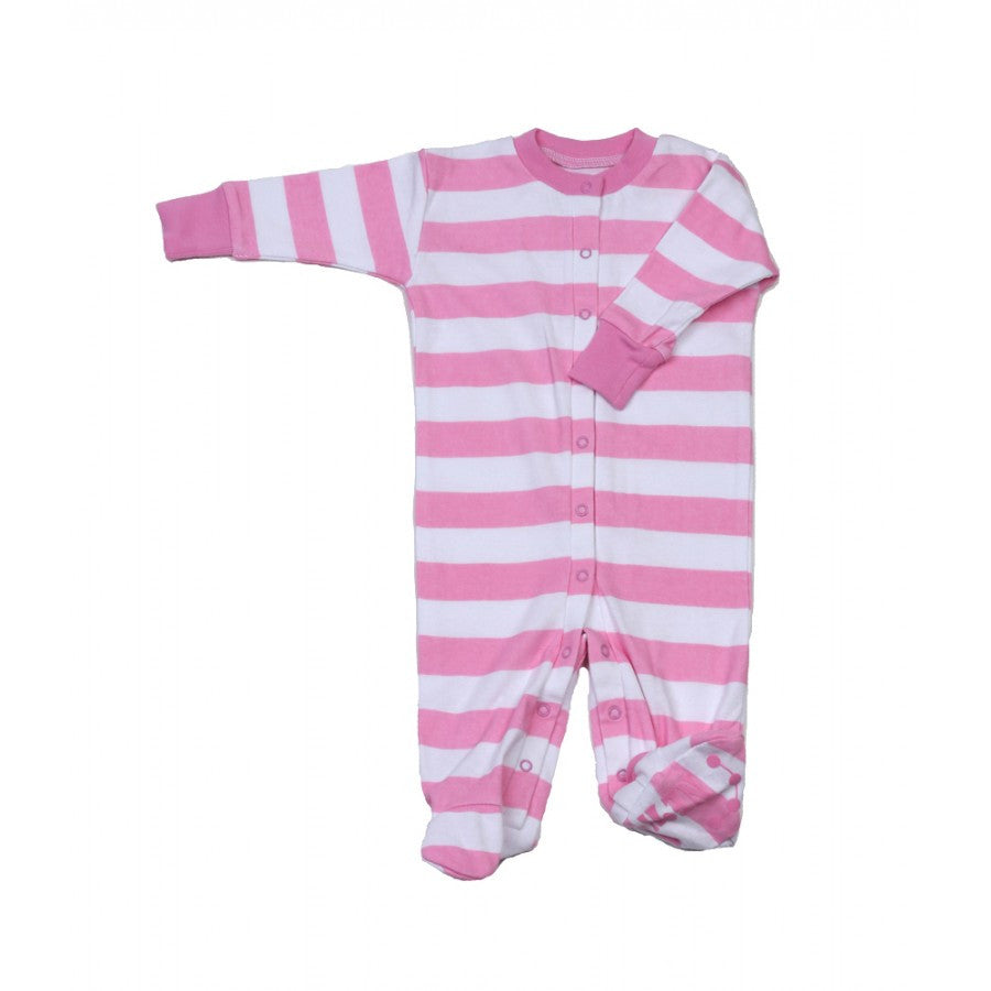 new jammies organic footie  pink  white stripes – busy b kids - new jammies organic footie  pink  white stripes  busy b kids