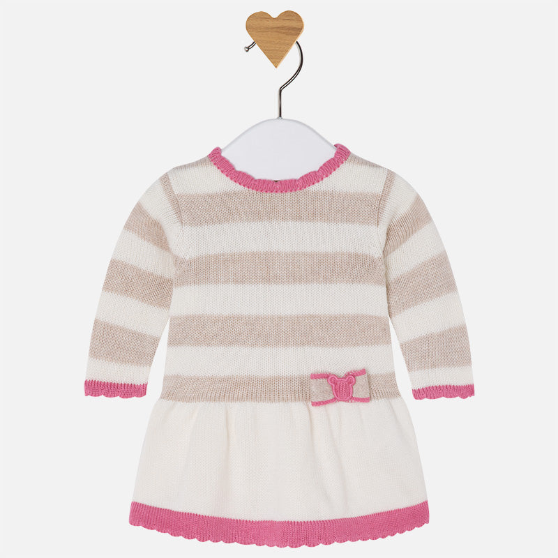 Mayoral: Baby Girl Long Sleeve Knit Dress - Walnut