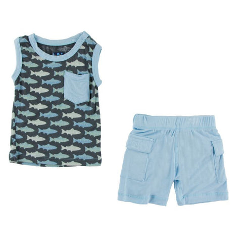 Kickee Pants: Print Tank and Cargo Short Outfit Set - Stone Trout