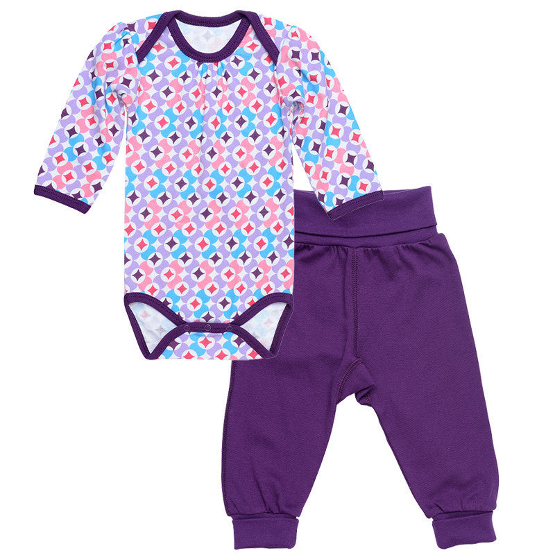Under the Nile: Bodysuit w/ Pant - Plum Prism Print - Busy B Kids - 1
