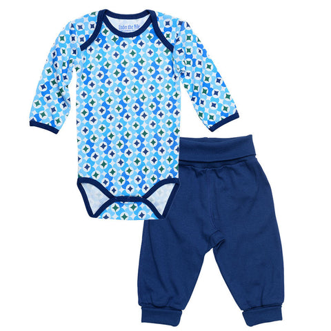 Under the Nile: Bodysuit w/ Pant - Navy Prism Print - Busy B Kids
