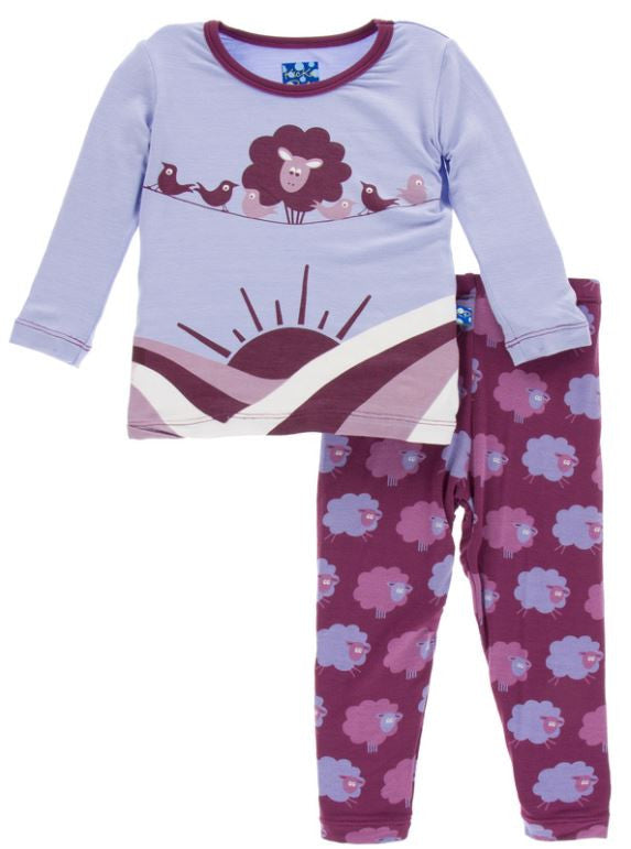 Kickee Pants: Long Sleeve Pajama Set - Grapevine Sheep