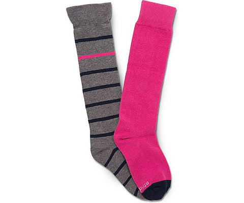 Stride Rite: Knee High Socks - Grey/Pink - Busy B Kids