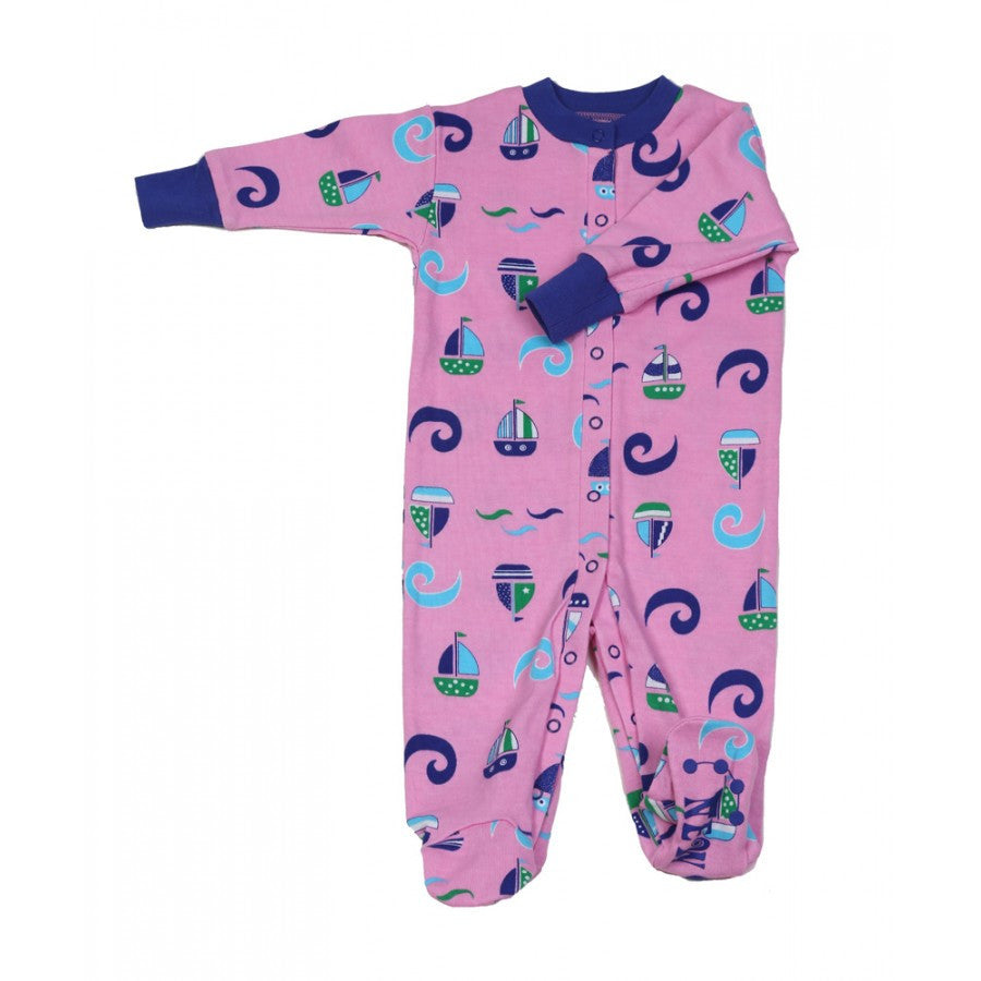 New Jammies: Organic Footie - Sail Boat Waves - Busy B Kids