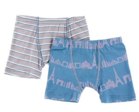 Kickee Pants: Boys Underwear - Parisian Stripe and Parisian Skyline