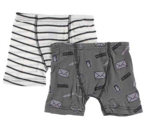 Kickee Pants: Boys Underwear - Neutral Parisian Stripe and Par Avion