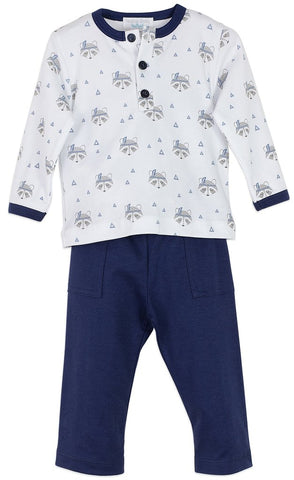 Feather Baby: Henley Shirt and Pocket Pant - Raccoon