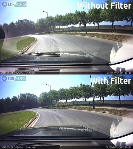BlackVue DR430, DR450, DR470, DR490, DR590, DR590W and DR590 IR Front Camera Slip-On Polarizing Filter - Accessories - DashCam Bros - Dash Cam