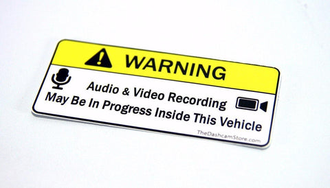 Warning Sticker | Audio and Video Recording May Be In Progress - Accessories - DashCam Bros - Dash Cam