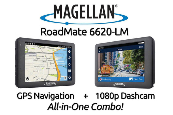 Magellan RoadMate 6620-LM Single Lens Dash Cam with GPS Navigation Combination