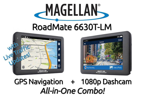 Magellan RoadMate 6630T-LM GPS Navigation (w/ Traffic) + Single Lens Dashcam Combo