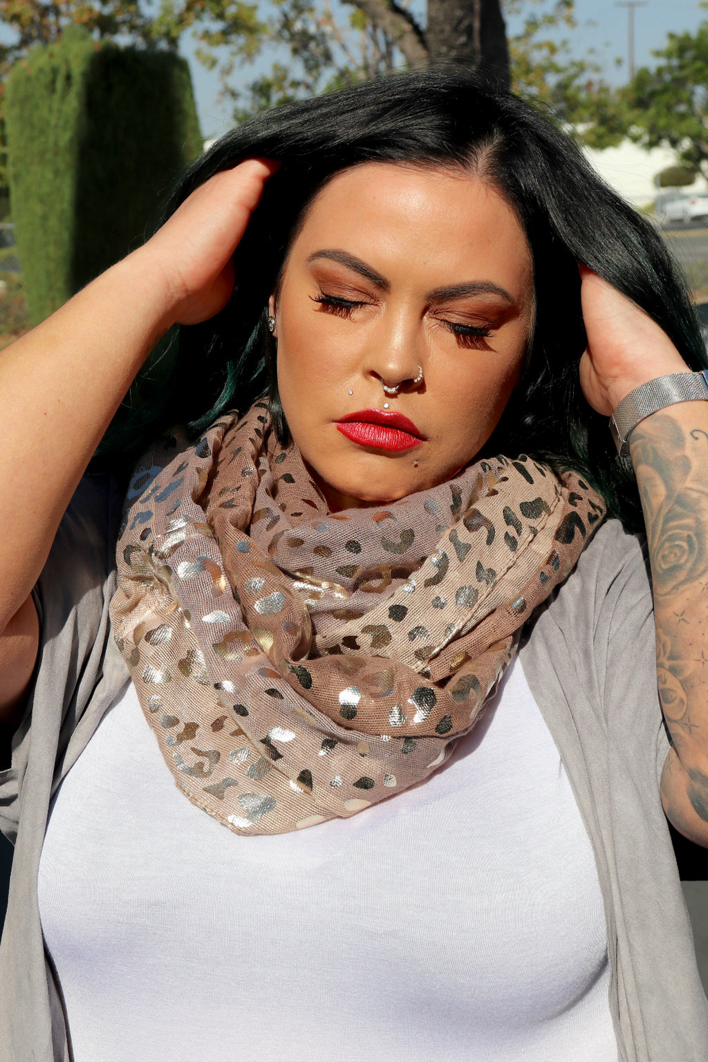 Silver Leopard Infinity Scarf