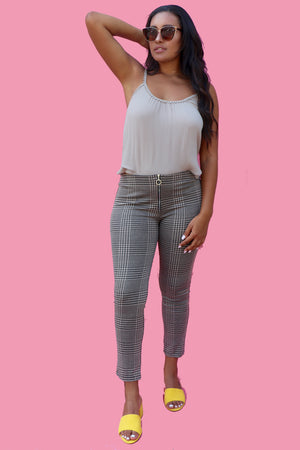 Tan Checka Pants-2 LEFT!