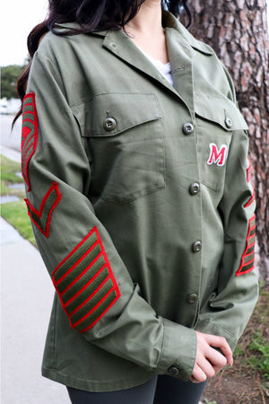 MR Red Vintage Military Button Up