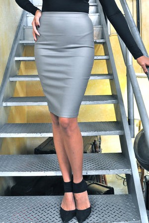 Metallic Leather Midi Skirt-1 LEFT!