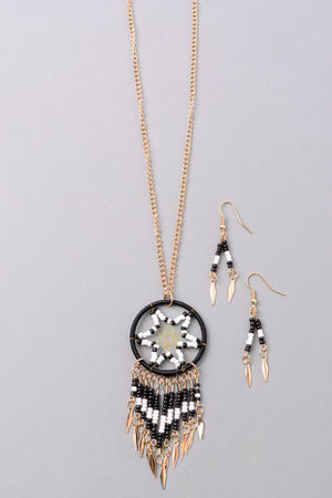 Black Dream Catcher Necklace