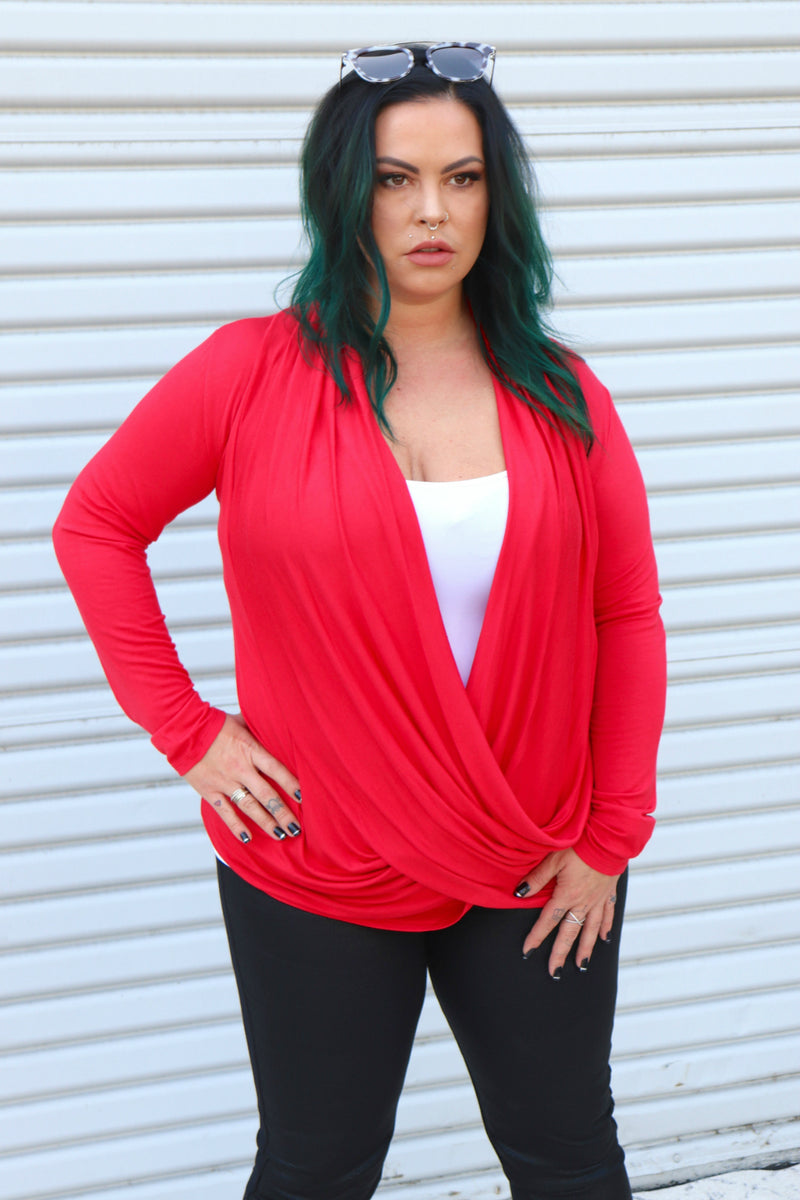 Angelina Blouse-Cherry Red