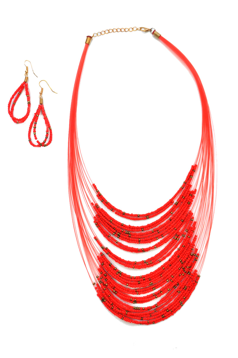Beaded Bib Necklace (multiple colors)