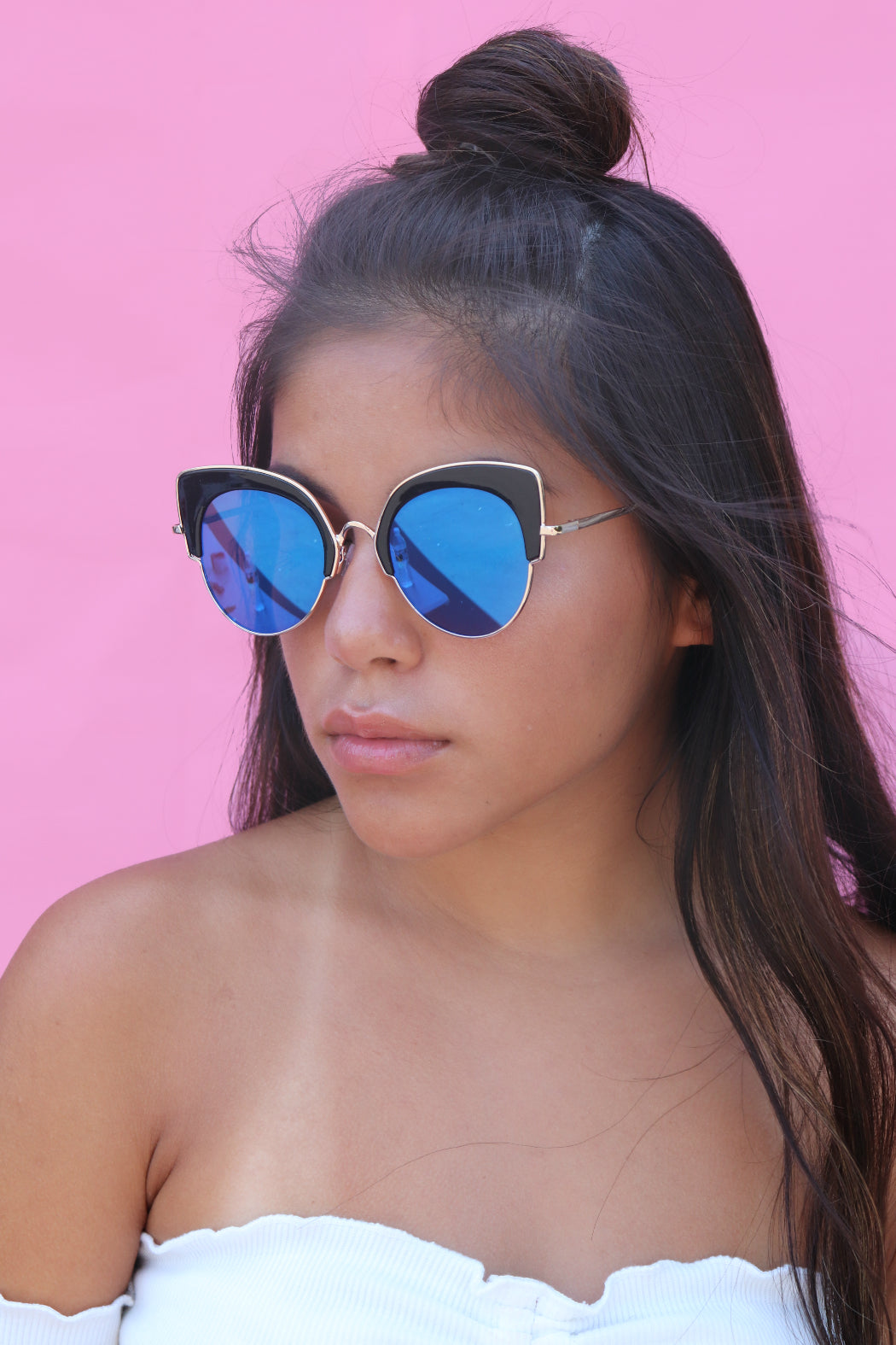Blue Mirror Kitty Sunglasses