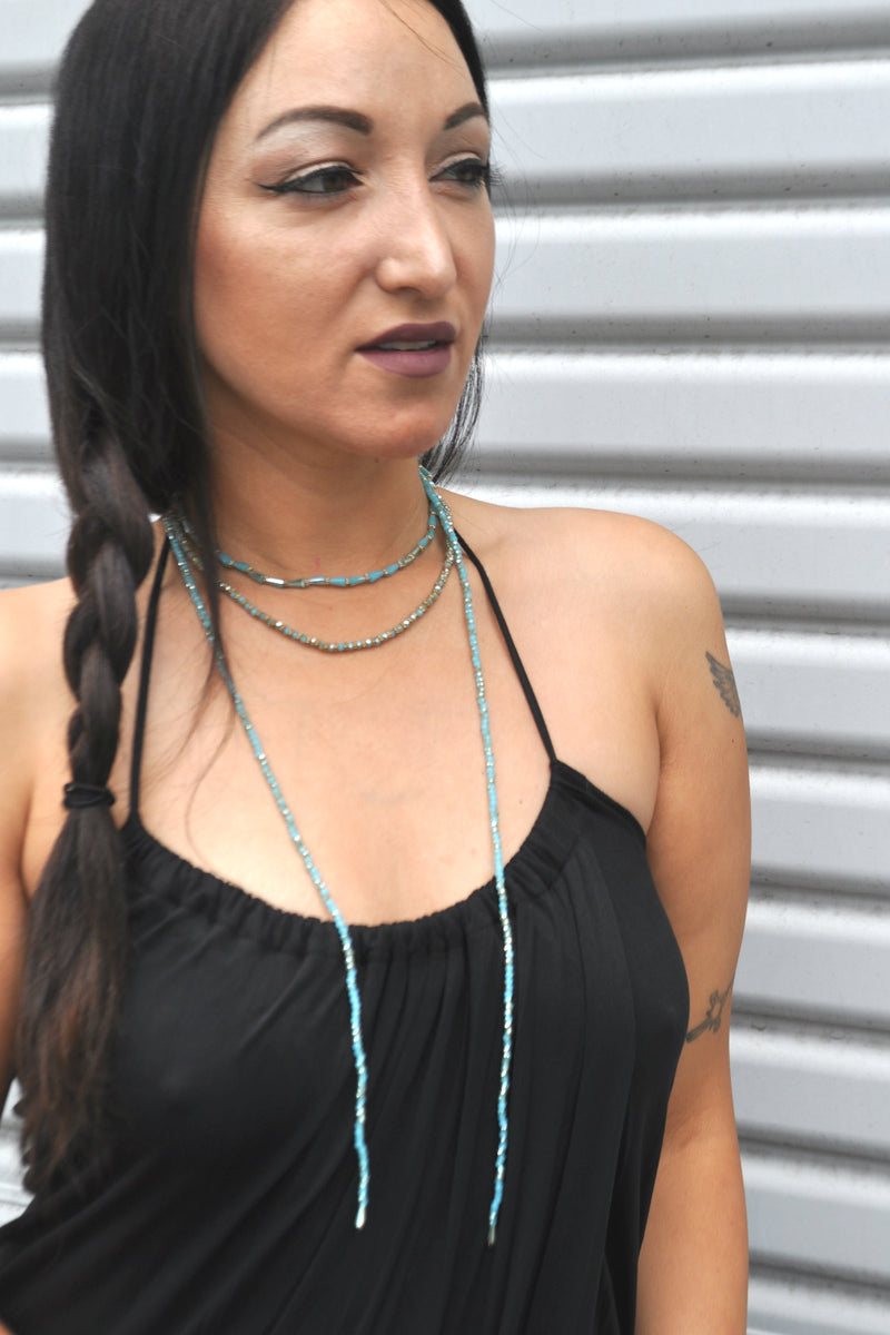 Turquoise Beaded Layered Choker