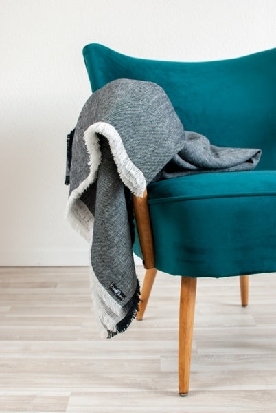 Black Washed Linen Melange Throw Blanket With Frayed Ends