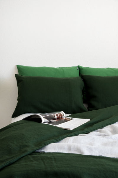 Dark Green Washed Llinen Duvet Cover