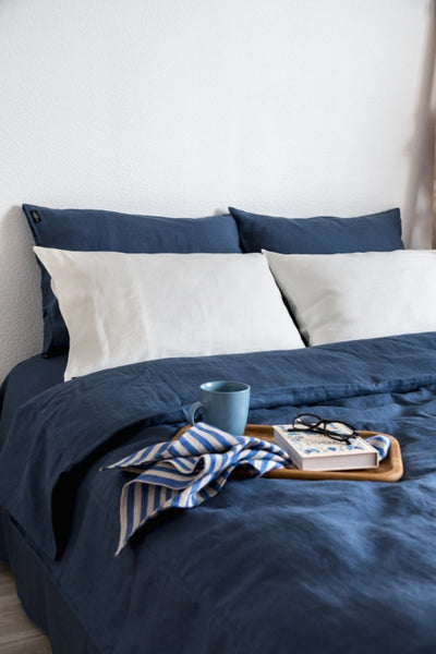 Denim Blue Linen Bedding Set