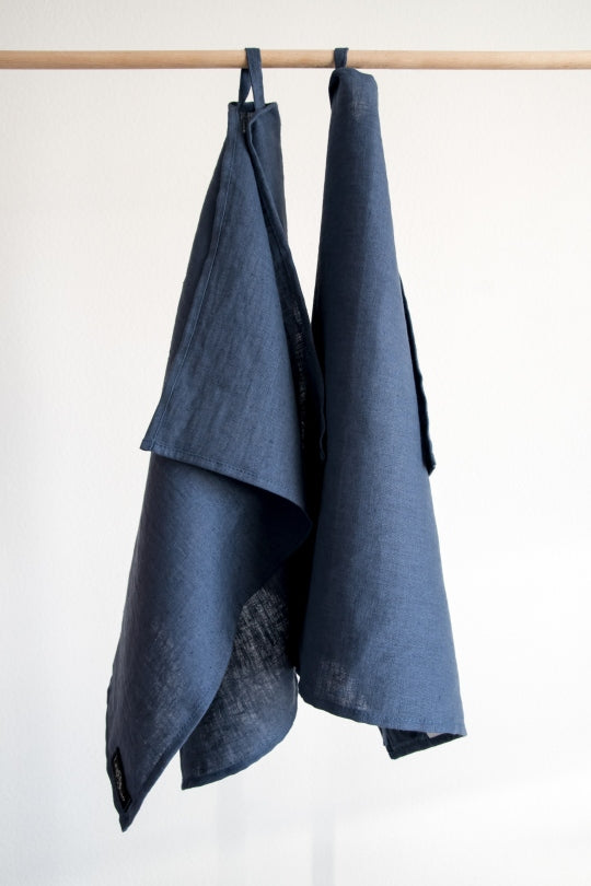 Denim Blue Linen Kitchen Towels (Set Of 2)