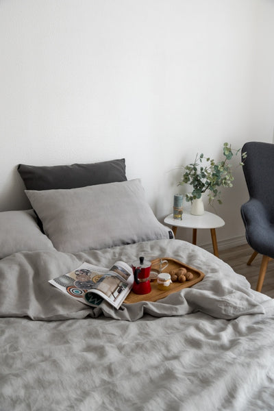 Light Grey Linen Bedding Set