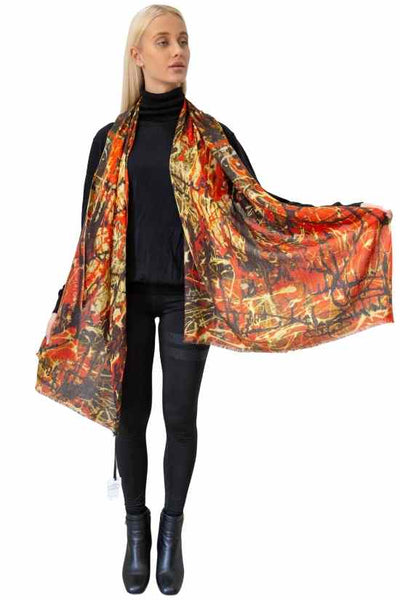 Hot Stuff Painting Wool Silk Scarf