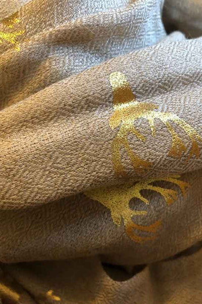 Stag Natural Wool & Silk Scarf- Back in Stock