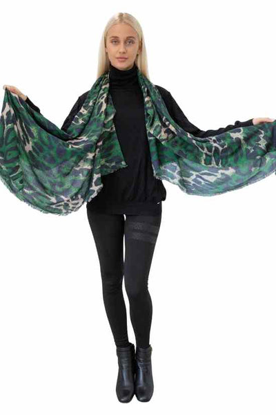 Mavis Leopard Cashmere Scarf-Out of Stock