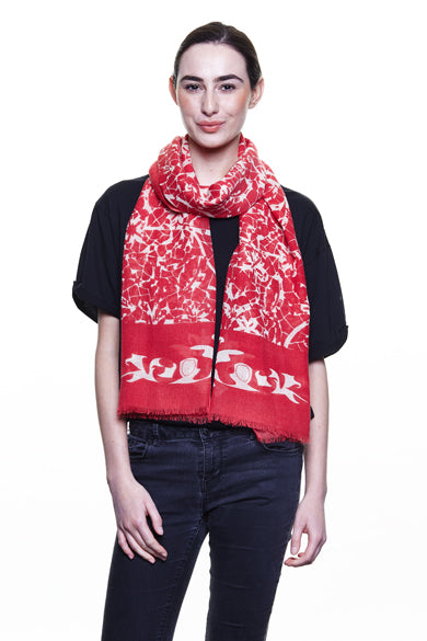 Coral Lace Wool Scarf